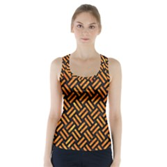 Woven2 Black Marble & Orange Marble Racer Back Sports Top