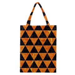 Triangle3 Black Marble & Orange Marble Classic Tote Bag by trendistuff