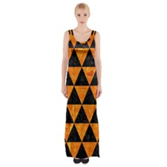 Triangle3 Black Marble & Orange Marble Maxi Thigh Split Dress by trendistuff