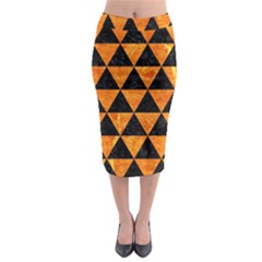Triangle3 Black Marble & Orange Marble Midi Pencil Skirt by trendistuff