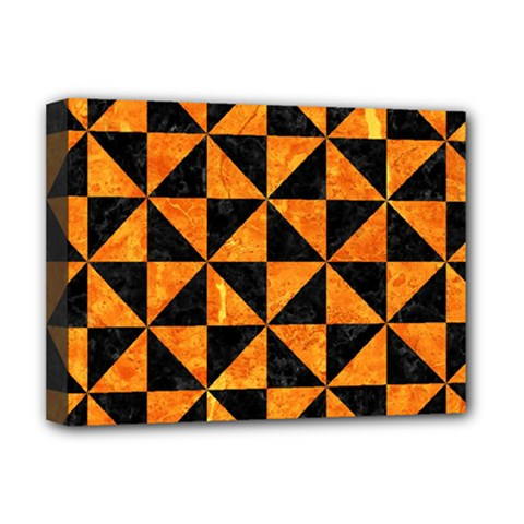 Triangle1 Black Marble & Orange Marble Deluxe Canvas 16  X 12  (stretched)  by trendistuff