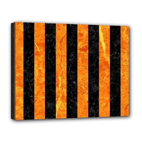 Stripes1 Black Marble & Orange Marble Canvas 14  X 11  (stretched) by trendistuff