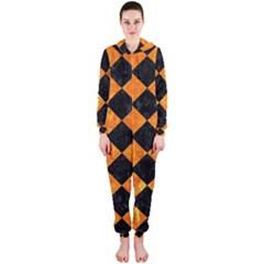 Square2 Black Marble & Orange Marble Hooded Jumpsuit (ladies) by trendistuff
