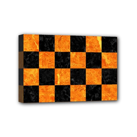 Square1 Black Marble & Orange Marble Mini Canvas 6  X 4  (stretched) by trendistuff