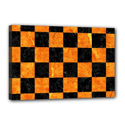 Square1 Black Marble & Orange Marble Canvas 18  X 12  (stretched) by trendistuff