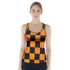 Square1 Black Marble & Orange Marble Racer Back Sports Top