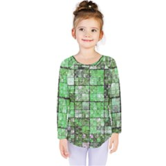 Background Of Green Squares Kids  Long Sleeve Tee by Zeze