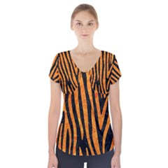 Skin4 Black Marble & Orange Marble (r) Short Sleeve Front Detail Top by trendistuff