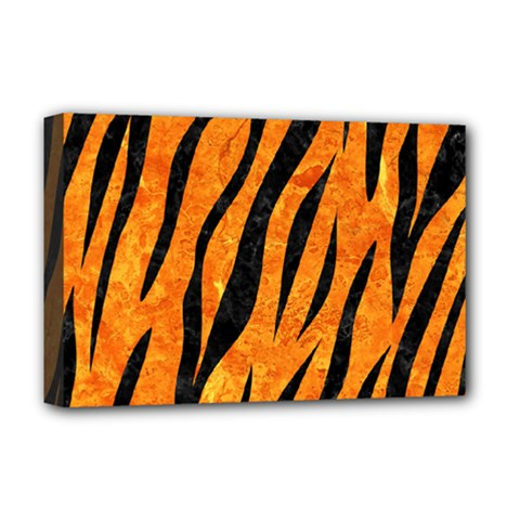 Skin3 Black Marble & Orange Marble (r) Deluxe Canvas 18  X 12  (stretched) by trendistuff