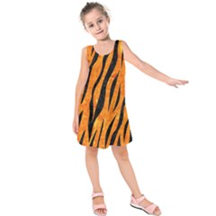 Skin3 Black Marble & Orange Marble (r) Kids  Sleeveless Dress by trendistuff