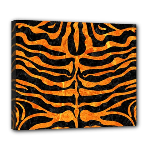 Skin2 Black Marble & Orange Marble Deluxe Canvas 24  X 20  (stretched) by trendistuff