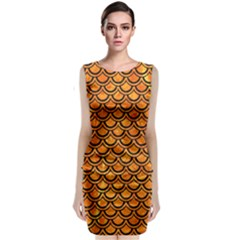 Scales2 Black Marble & Orange Marble (r) Classic Sleeveless Midi Dress by trendistuff