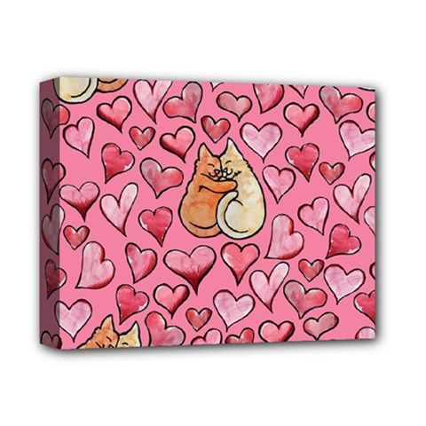 Cat Love Valentine Deluxe Canvas 14  X 11  by BubbSnugg