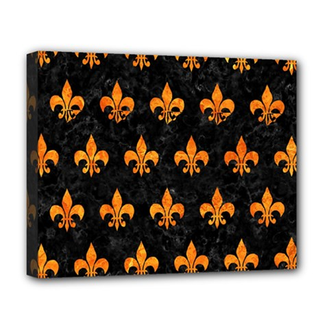 Royal1 Black Marble & Orange Marble (r) Deluxe Canvas 20  X 16  (stretched) by trendistuff