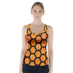 Hexagon2 Black Marble & Orange Marble (r) Racer Back Sports Top