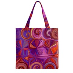 Candy Abstract Pink, Purple, Orange Zipper Grocery Tote Bag by theunrulyartist