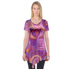 Candy Abstract Pink, Purple, Orange Short Sleeve Tunic