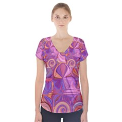 Candy Abstract Pink, Purple, Orange Short Sleeve Front Detail Top