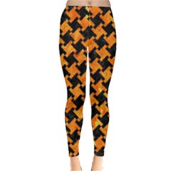 Houndstooth2 Black Marble & Orange Marble Leggings  by trendistuff