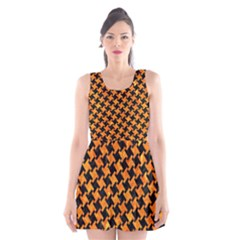 Houndstooth2 Black Marble & Orange Marble Scoop Neck Skater Dress by trendistuff