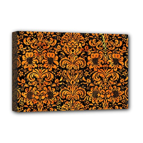 Damask2 Black Marble & Orange Marble Deluxe Canvas 18  X 12  (stretched) by trendistuff