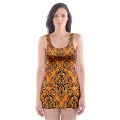 Damask1 Black Marble & Orange Marble (r) Skater Dress Swimsuit by trendistuff