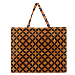 Circles3 Black Marble & Orange Marble (r) Zipper Large Tote Bag by trendistuff