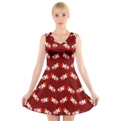 Christmas Crackers  V-Neck Sleeveless Skater Dress by Zeze