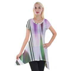 Colored Pattern Short Sleeve Side Drop Tunic by Zeze