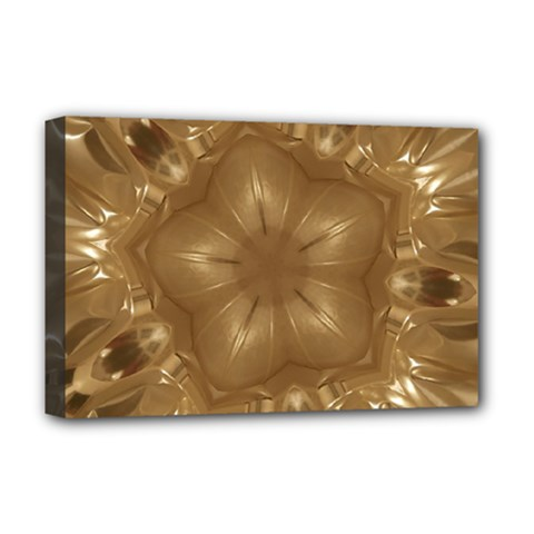 Elegant Gold Brown Kaleidoscope Star Deluxe Canvas 18  X 12   by yoursparklingshop
