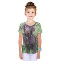Chocolate Lab Pup Kids  One Piece Tee by TailWags