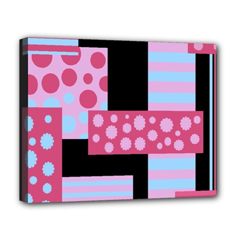 Pink Collage Deluxe Canvas 20  X 16   by Valentinaart
