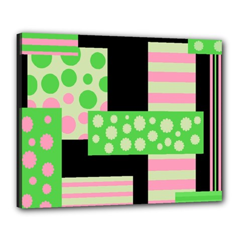 Green And Pink Collage Canvas 20  X 16  by Valentinaart