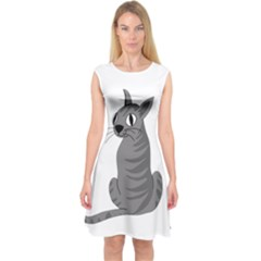 Gray Cat Capsleeve Midi Dress by Valentinaart