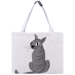 Gray Cat Mini Tote Bag by Valentinaart