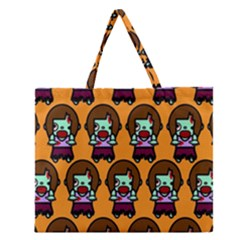 Zombie Woman Fill Orange Zipper Large Tote Bag by AnjaniArt