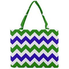 Blue And Green Chevron Mini Tote Bag by AnjaniArt