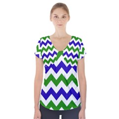 Blue And Green Chevron Short Sleeve Front Detail Top by AnjaniArt