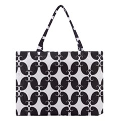 Black Flower Accents Medium Tote Bag by AnjaniArt