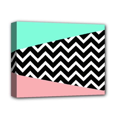 Chevron Green Black Pink Deluxe Canvas 14  X 11  by AnjaniArt