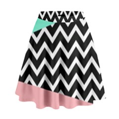 Chevron Green Black Pink High Waist Skirt by AnjaniArt