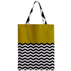 Colorblock Chevron Pattern Mustard Zipper Classic Tote Bag by AnjaniArt
