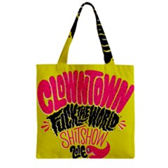Clowntown Zipper Grocery Tote Bag by AnjaniArt