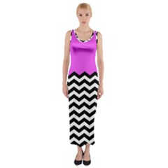 Colorblock Chevron Pattern Jpeg Fitted Maxi Dress by AnjaniArt