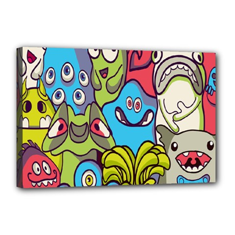 Colourful Monster Flooring Canvas 18  X 12