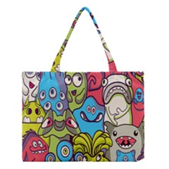 Colourful Monster Flooring Medium Tote Bag by AnjaniArt
