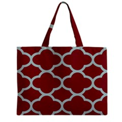 Flower Red Light Blue Zipper Mini Tote Bag by AnjaniArt
