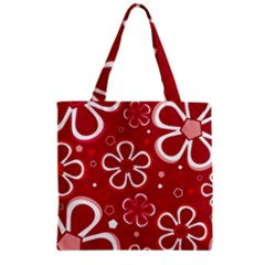 Flower Red Cute Zipper Grocery Tote Bag by AnjaniArt