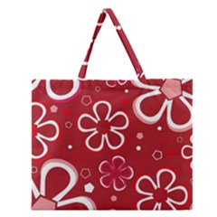 Flower Red Cute Zipper Large Tote Bag by AnjaniArt