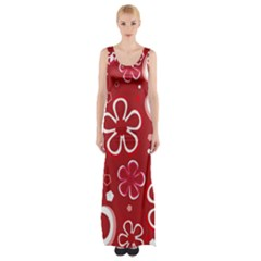 Flower Red Cute Maxi Thigh Split Dress by AnjaniArt